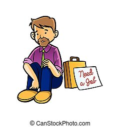 unemployed man with need job sign
