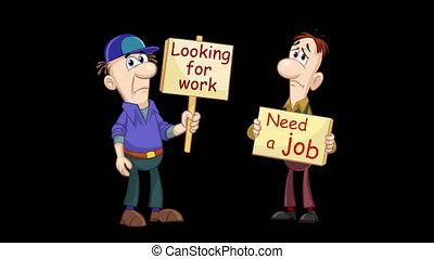 Unemployed men animation - Looped cartoon animation of two ...