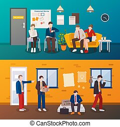 Unemployed People Flat Compositions