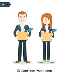 unemployed sad man and woman with boxes in their hands during the financial crisis. flat illustration isolated on white background