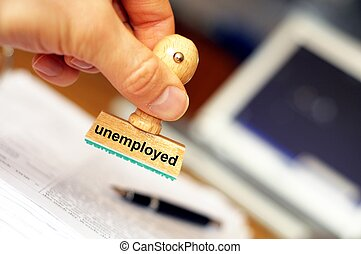 unemployed stamp in office showing job search concept