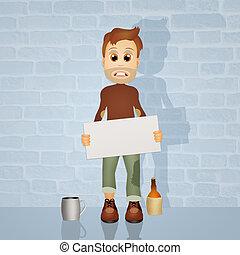 unemployed - illustration of unemployed man