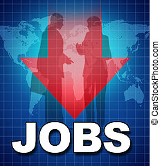 Unemployment and lack of jobs symbol represented by text and...