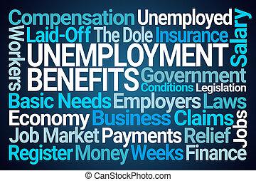 Unemployment Benefits Word Cloud on Blue Background