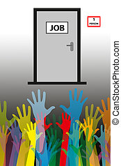 unemployment concept- one person job, many applicants