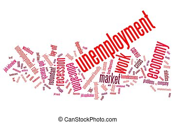 Unemployment issues and concepts word cloud illustration....