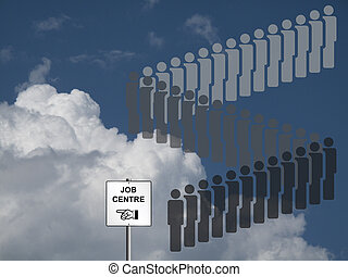 Unemployment line - Unemployed people queuing at a job...