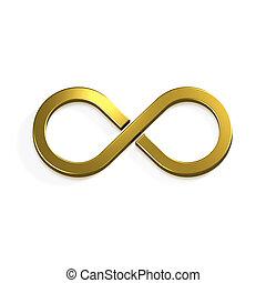 unendlich, gold, symbol., 3d, render, abbildung