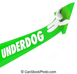 unerwartet, underdog, gewinner, konkurrenz, pfeil, wort, mann, 3d