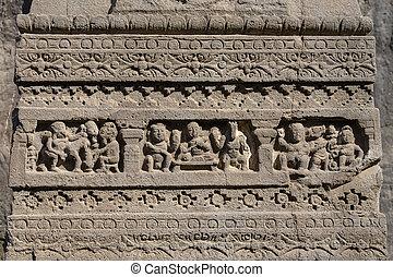 unesco, ellora, rocha, esculturas, índia, local, textura, maharashtra, aurangabad, fundo, herança, mundo, cavernas