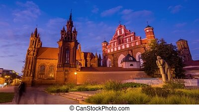 UNESCO heritage St. Anne's Church in Vilnius capital Lithuania, timelapse movie