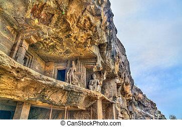 unesco, monumentos, budista, índia, local, maharashtra, ellora, caves., herança, visão mundial