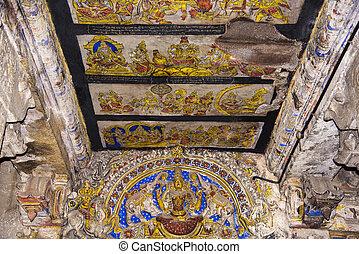 unesco, pinturas, nadu, techo, india, thanjavur, sitios, brihadishvara, herencia, mundo, templo, tamil