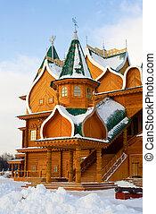 unesco, stan, pałac, drewniany, królewski, umiejscawiać, moskwa, kolomenskoe, full-scale, rekonstrukcja, dziedzictwo, russia., świat, dawny