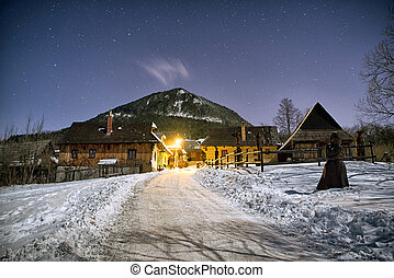 UNESCO village Vlkolinec at winter night, Slovakia