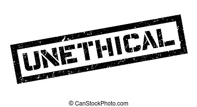 Unethical rubber stamp on white. Print, impress, overprint.