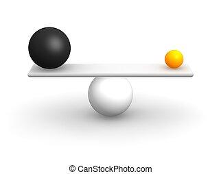 Uneven balls in balance. 3d rendered illustration.