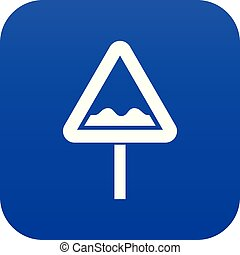 Uneven triangular road sign icon digital blue