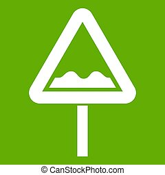 Uneven triangular road sign icon green - Uneven triangular...