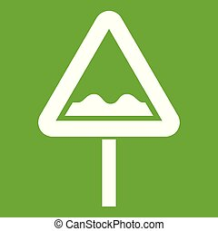 Uneven triangular road sign icon green