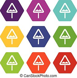 Uneven triangular road sign icon set color hexahedron