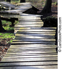 Uneven wooden pathway receding through forest.