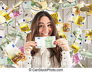 Unexpected winning of money - Happy businesswoman shows...