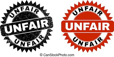 Black rosette UNFAIR seal stamp. Flat vector grunge seal stamp with UNFAIR caption inside sharp rosette, and original clean version. Imprint with grunged surface.