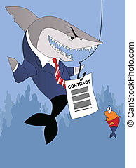 Smiling shark in a business suite offers a contract to a terrified small fish customer