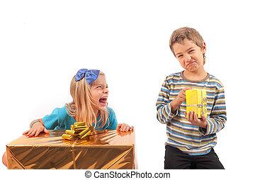 Unfair gift giving - siblings - Unfair gift giving between...