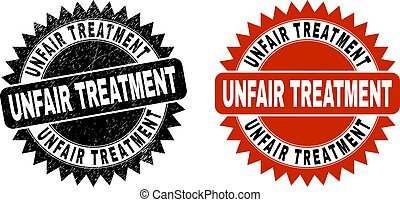 Black rosette UNFAIR TREATMENT seal stamp. Flat vector distress watermark with UNFAIR TREATMENT title inside sharp rosette, and original clean template. Watermark with distress style.