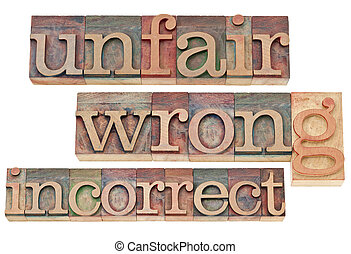 unfair, wrong, incorrect - negative words - isolated text in...