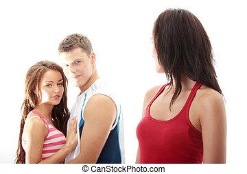 Unfaithful boyfriend concept. Boyfriend is flirting with...
