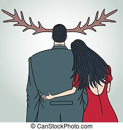Unfaithful wife cheating on her husband. The man grew horns....