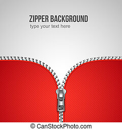 Unfastened zipper background realistic template vector illustration