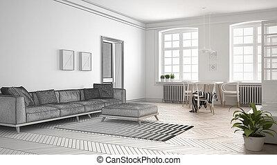 Unfertig Projekt Von Minimalist Wohnzimmer Skizze Abstrakt Innenarchitektur