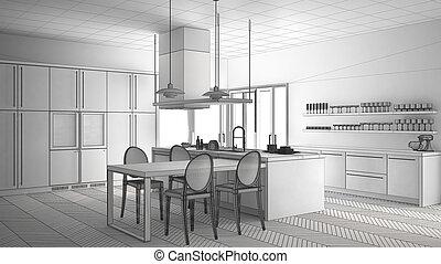 Unfertig Projekt Von Minimalistic Modern Kueche Mit Tisch