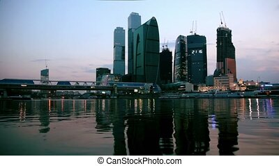 Unfinished City of Moscow, view from river at end of day