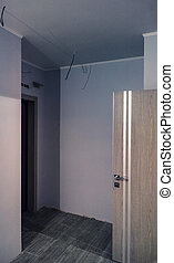 unfinished entrance room in studio
