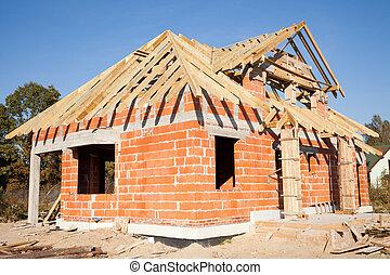 Unfinished house of brick, still under construction