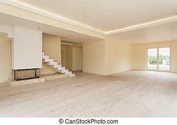 Unfinished living room interior - Unfinished interior of...