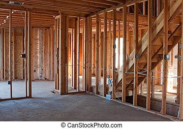 Unfinished New Construction Framing - Framed building or...