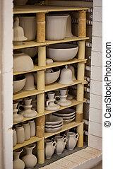 Unfinished porcelain - Unfinished pottery products. Baking...