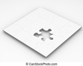 3D render of a puzzle with one piece missing