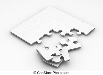 Unfinished puzzle - 3D render of an unfinished puzzle