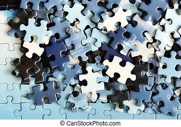 Unfinished puzzle detail - Unfinished colorful puzzle pieces...