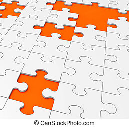 Unfinished Puzzle Shows Missing Pieces Or Uncompleted