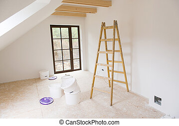 Unfinished room - Empty unfinished room with white walls in...