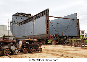 unfinished ship - unfinished dry cargo ship in the dock...