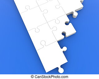 Unfinished white puzzle on blue.3d illustration